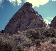 Rock Climbing Photo: The top part of the route. It's not nearly as stra...