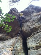 Rock Climbing Photo: Navigating the low roof on Frenchburg Overhangs.
