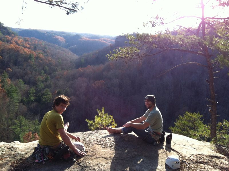 Beautiful top-out in the Northern Red River Gorge.