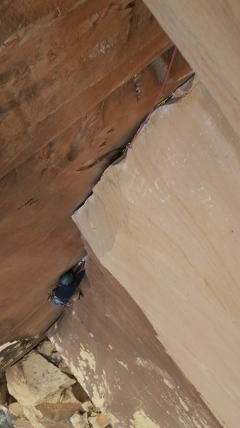 Slugging it out on the perfect rock of the final pitch.
