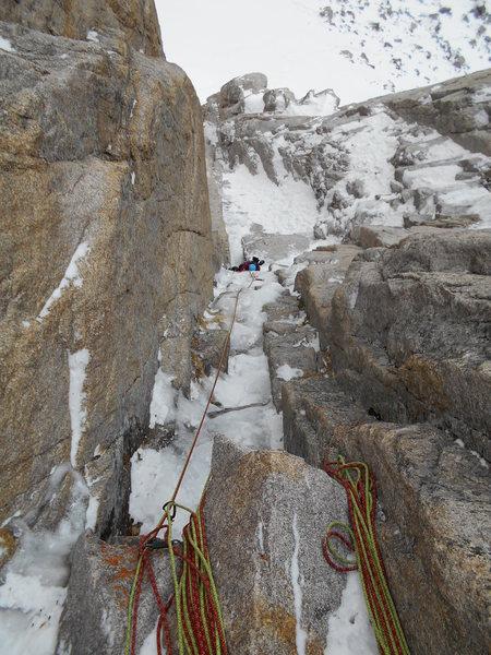 Rock Climbing Photo: Looking down P2 Field's Chimney.