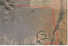 Rock Climbing Photo: Road (red) and trail (pink) approach to Checkerboa...