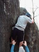 my first ever boulder problem,same day as Matt