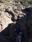 Rock Climbing Photo: Waterstains (5.8), The Thumb, Sandia Mtns, NM.  P1...