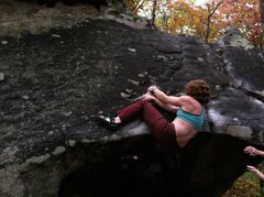 Rock Climbing Photo: Hooking into the mantle.