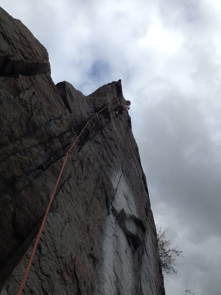 Rock Climbing Photo: Colin, just before the crux on a cloudy day in Nov...