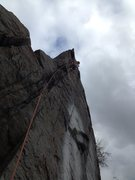 Colin, just before the crux on a cloudy day in November, 2013.