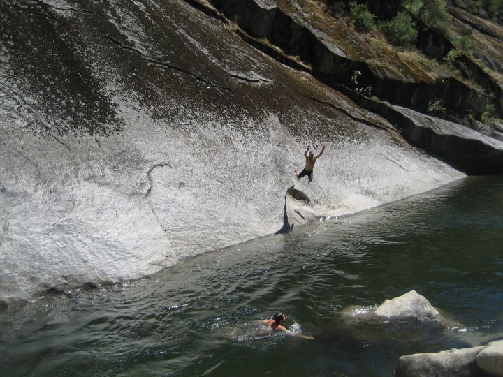 Falling (voluntarily?) off of Trout Fishing in America. Took several tries to make the traverse across. Photo taken in late June in a heavy snow year.