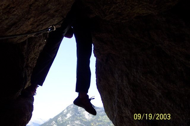 The intimidating Cave Exit, Pear Buttress, Lumpy Ridge, Estes Park, CO