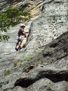 Rock Climbing Photo: Ty Groh starts up the first pitch of Mainline.  Ph...