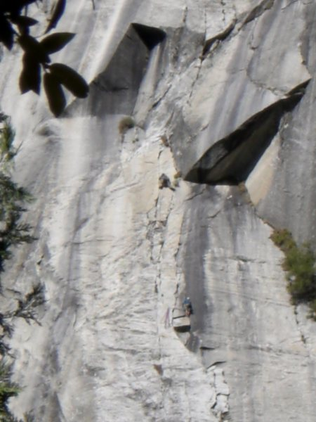 John Ely leading crux finger crack on final pitch of Super Slide, belayed by John Hoffman.  Photo: Bethany Sanders