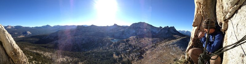 Rock Climbing Photo: top of the 2nd pitch of Cathedral Peak, YNP.