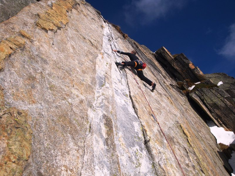 Valerie N in the brilliant 6b crack in the middle sector at Lutersee