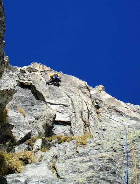 Rock Climbing Photo: Valerie N. in pitch three of Millius (6c)