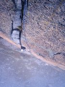Rock Climbing Photo: Lea on the off width exit of pitch two, Hägar (6a...