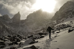Rock Climbing Photo: Andrews Glacier ski approach, Oct. 2013.