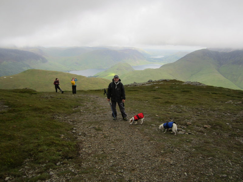 Stormy day hiking on Mt Robinson. Looking down on the Buttermere Valley