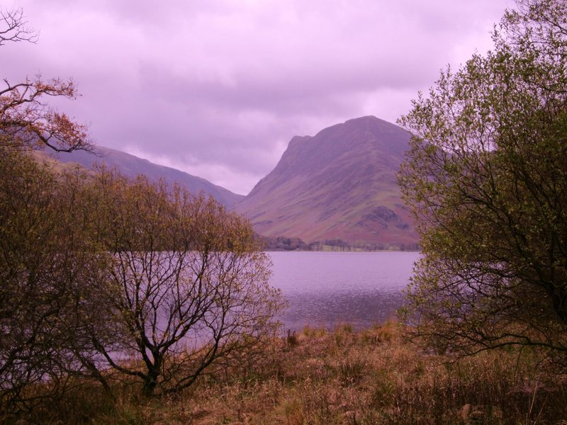 Looking across Buttermere Lake to Honister Crag. Fall day