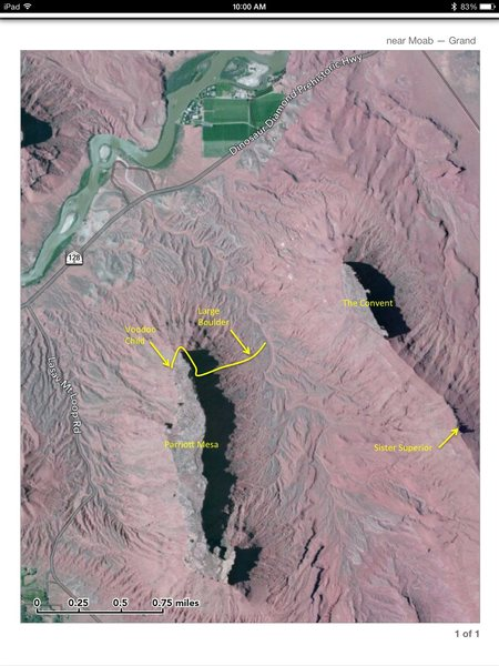 Rock Climbing Photo: Approach map.  Yellow line marks the approximate l...