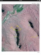 Approach map.  Yellow line marks the approximate location of the trail from the wash to the base of the route
