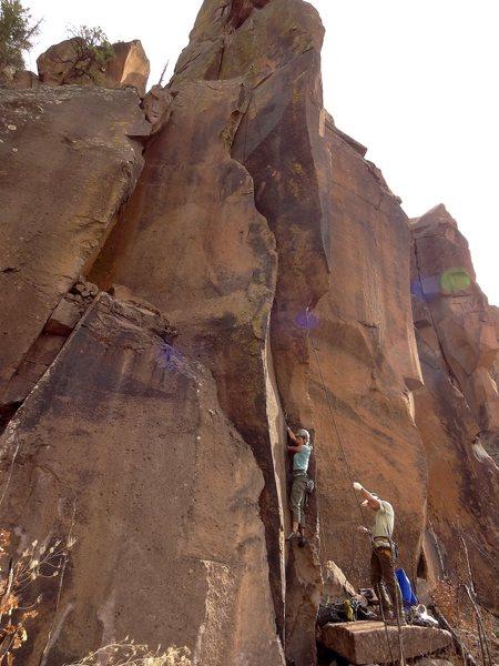 Rock Climbing Photo: Starting up  Ephemeral Epitomist. April 2013.
