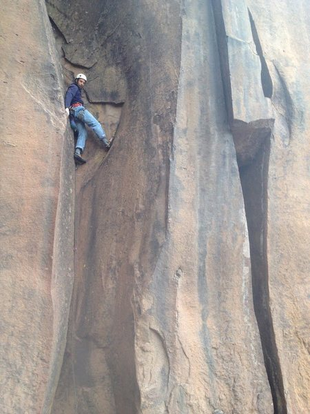 Rock Climbing Photo: Losing the plot, climbing backwards.