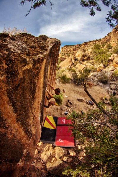 Making another not-so-impressive attempt at the dyno problem on the Bucket Racer Boulder.<br> <br> Photo courtesy of J. Zacher.
