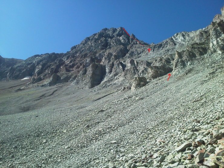 A view of the North Face of Mears. North Ridge the right skyline. Route 'Ten High' in red.