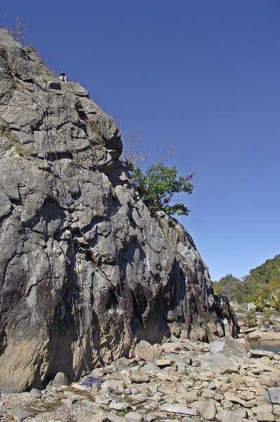 A photo of top ropes set on the Knob at relatively low water.  Photo: Dave Rockwell