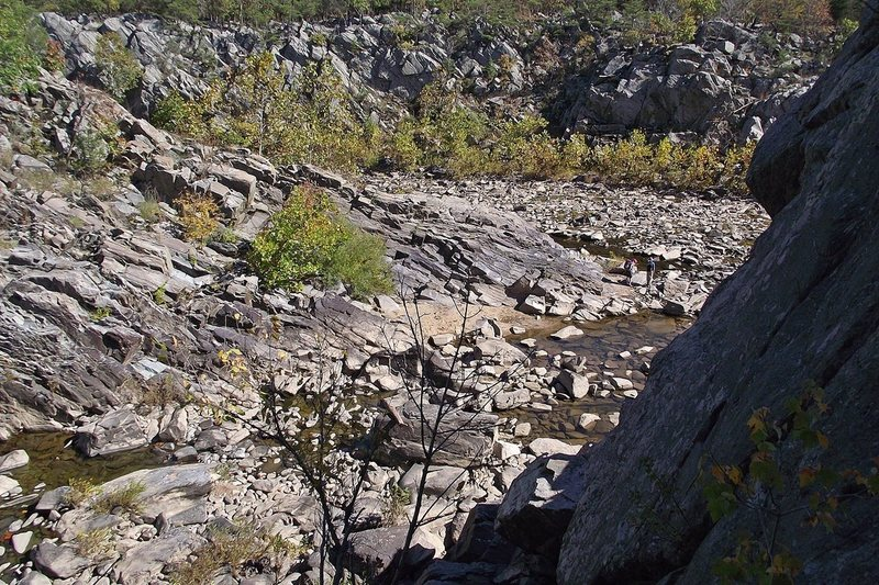 Scrambling back from the Rocky Island towards the Billy Goat trail along the back channel water way from the Knob.  At low water, this is very easy, but requires more care if the water is higher.  Photo: Dave Rockwell.