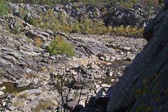 Rock Climbing Photo: Scrambling back from the Rocky Island towards the ...