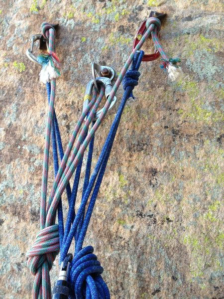 Anchor on top of pitch 4 on Cloud Tower. The bright blue anchor is mine, the discolored one was up there when go there with a quicklink attached to it