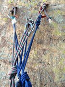 Rock Climbing Photo: Anchor on top of pitch 4 on Cloud Tower. The brigh...