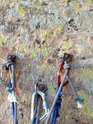 Rock Climbing Photo: Anchor on top of pitch 4 on Cloud Tower. Top two b...