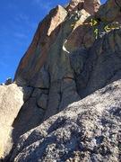 Rock Climbing Photo: Far right arrow: where you come from. Arrow far le...