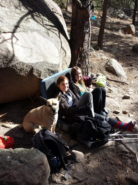 Gina showing support from 'crash pad turned couch' in Evergreen at Three Sisters. She will be back in the game soon!