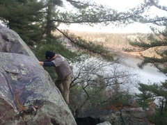 GLBJ on Super Slab with a nice view of Devils Lake.
