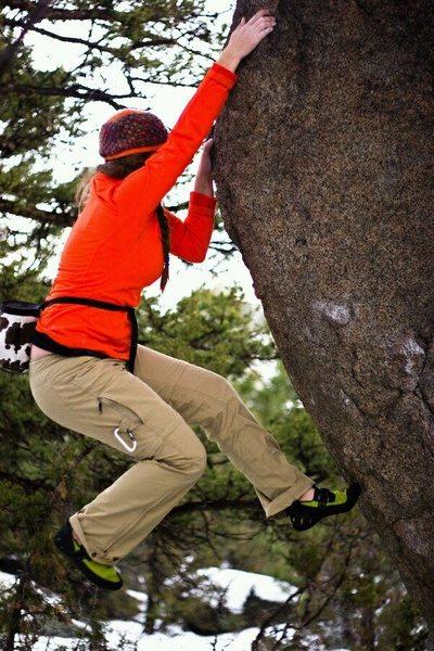 Dagmars Hot Pants, Trailer Boulders, Butte MT area. <br> Photo by Phillip Dobson