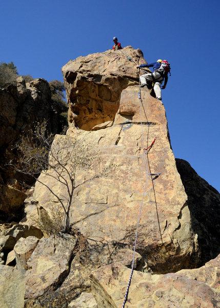 Rock Climbing Photo: Doug belays Bill up the final pitch.