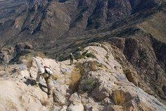 Rock Climbing Photo: 2nd class rock scramble up the ridge line