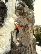 Rock Climbing Photo: Bert on the mixed portion of the route. Mid-Nov. 2...