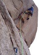 Rock Climbing Photo: overhung lieback pitch
