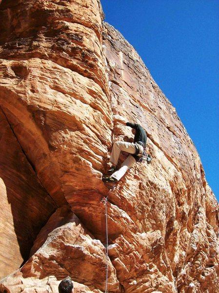 Ivo, at steep and sunny crag, Red Rocks, NV