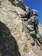 Rock Climbing Photo: Starting up the final (crux) pitch.   Photo by Dan...