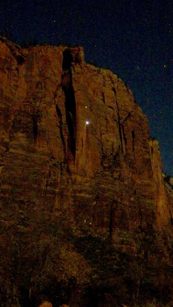 Chris and Kevin Gmitro on their 10 hour, single push, Full Moon ascent of Moonlight