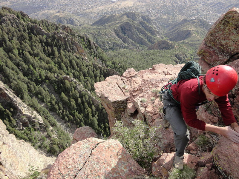 """topping out Out to Lunch"""" in the Sandias"""