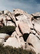 Rock Climbing Photo: Start this climb via the right facing corner to a ...