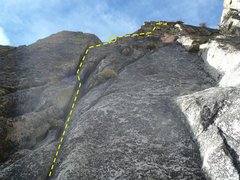Rock Climbing Photo: Looking up pitch 3 from the slung knob.