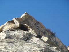 Rock Climbing Photo: Adam Hamburg approaching the crux moves.