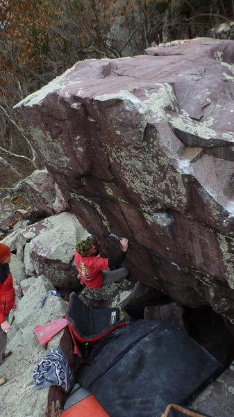 Rock Climbing Photo: Ian on the first move.